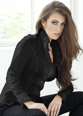 Womens Black Ruffle Shirt