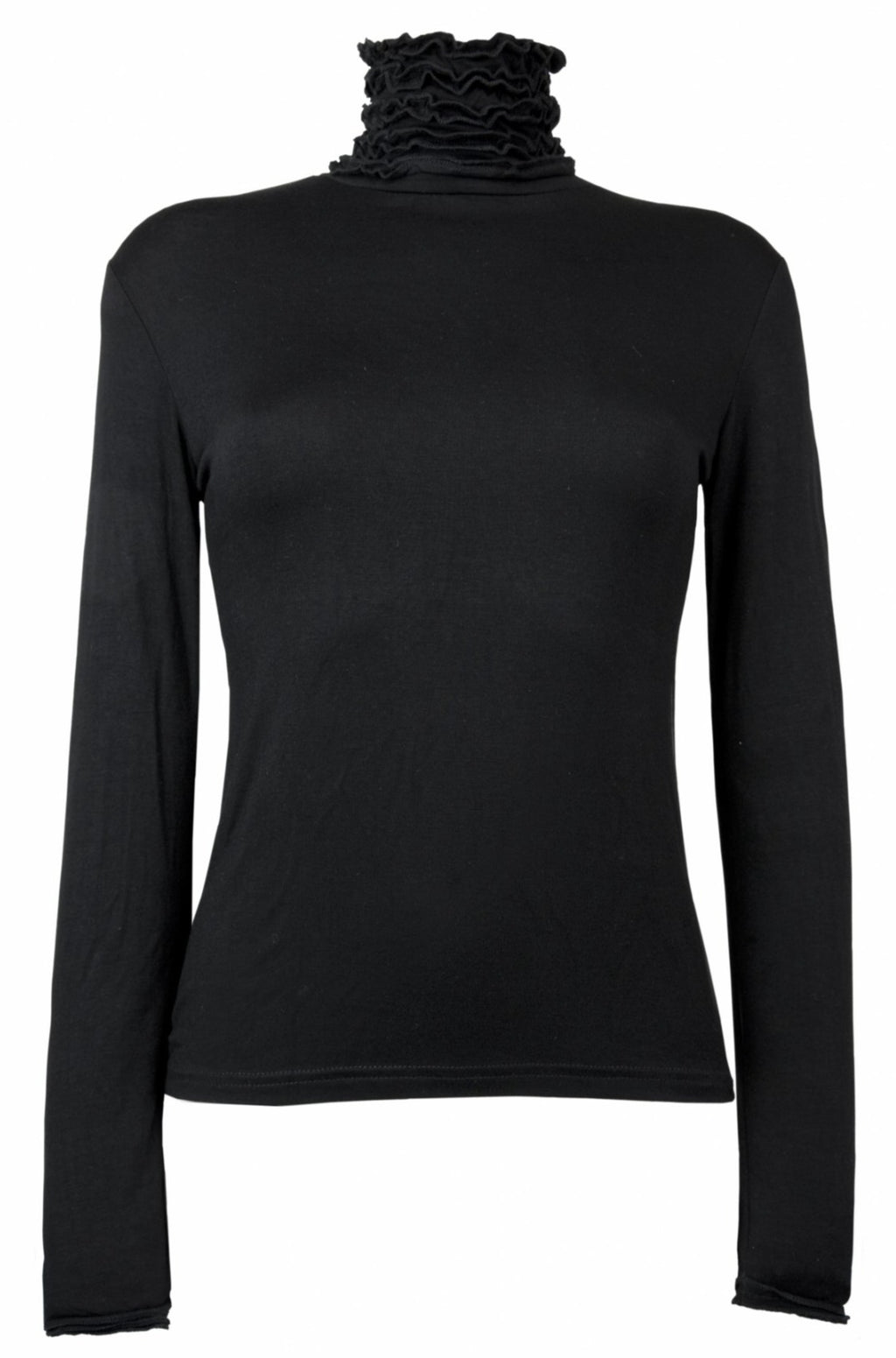 Fine Knit Ruffle Polo Neck Jumper - Black