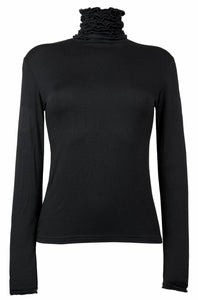 Ruffle Polo Neck Fine Knit Sweater - Black