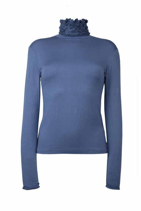 Best selling fine knit Ruffle Polo Neck Sweater in Blue Denim by Sally Allen