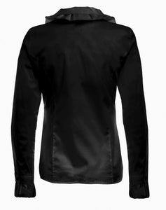Womens Black Ruffle Shirt - back