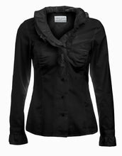 Load image into Gallery viewer, Womens Black Ruffle Shirt  - front