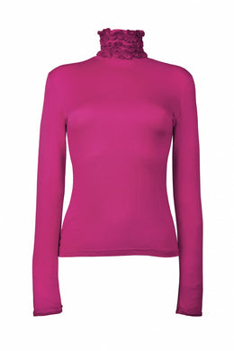 Best selling fine knit Ruffle Polo Neck Sweater in Cerise by Sally Allen