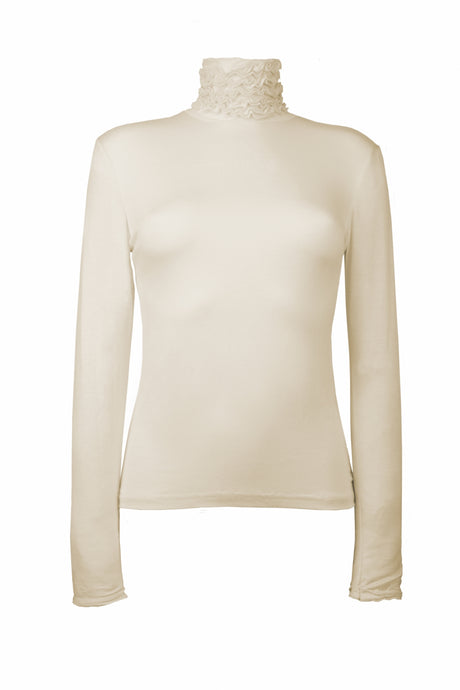 Best selling fine knit Ruffle Polo Neck Sweater in Cream by Sally Allen