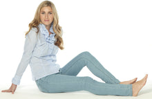 Load image into Gallery viewer, Eden Roc Elite Wizard Jeans in bleached stonewash blue. Skinny cut with regular rise