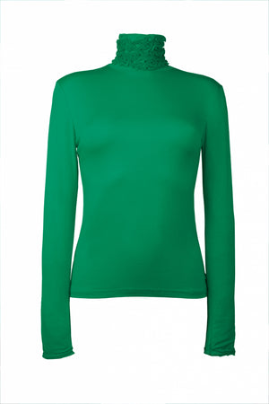 Best selling fine knit Ruffle Polo Neck Sweater in Emerald Green by Sally Allen