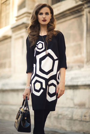 Peruzzi absract black and white tunic dress