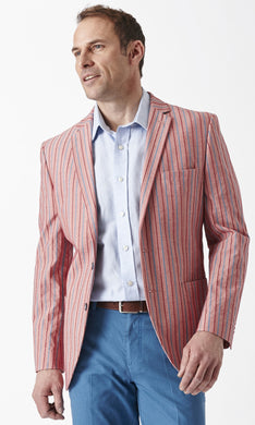 Brook Taverner Flamingo Raspberry Stripe Men's Jacket