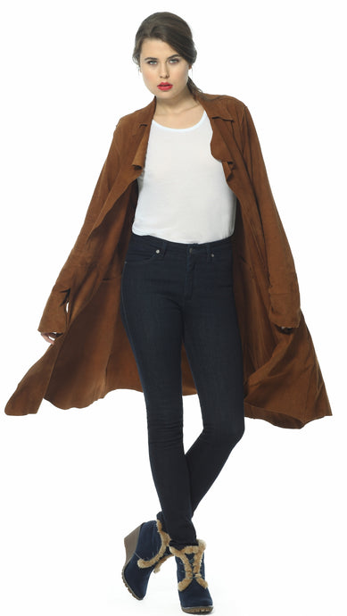 Ultra soft suede coat by Sally Allen