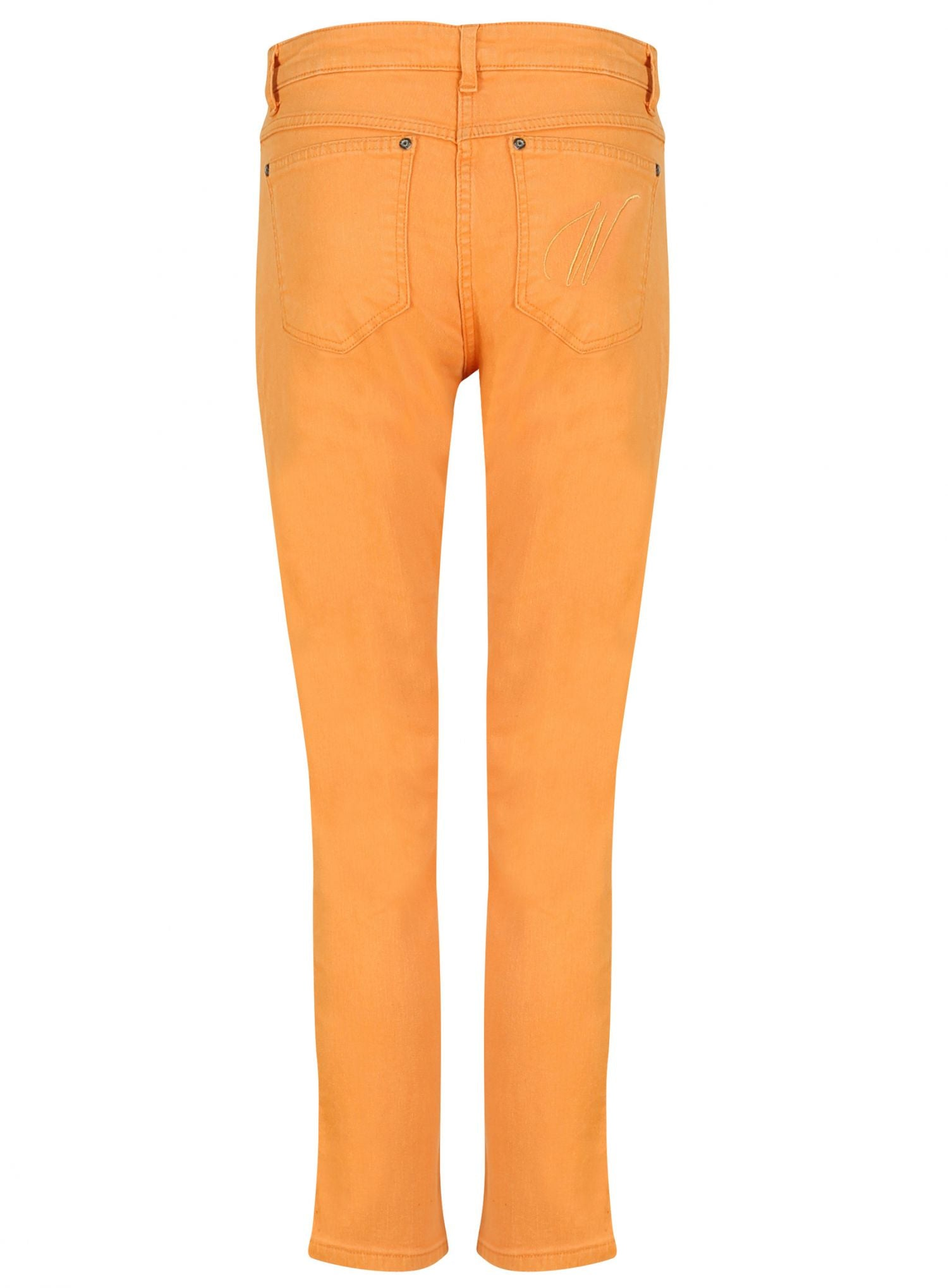 side view peach jeans faux leather piping