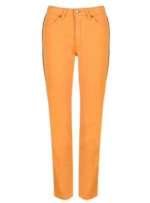 front view peach jeans faux leather piping
