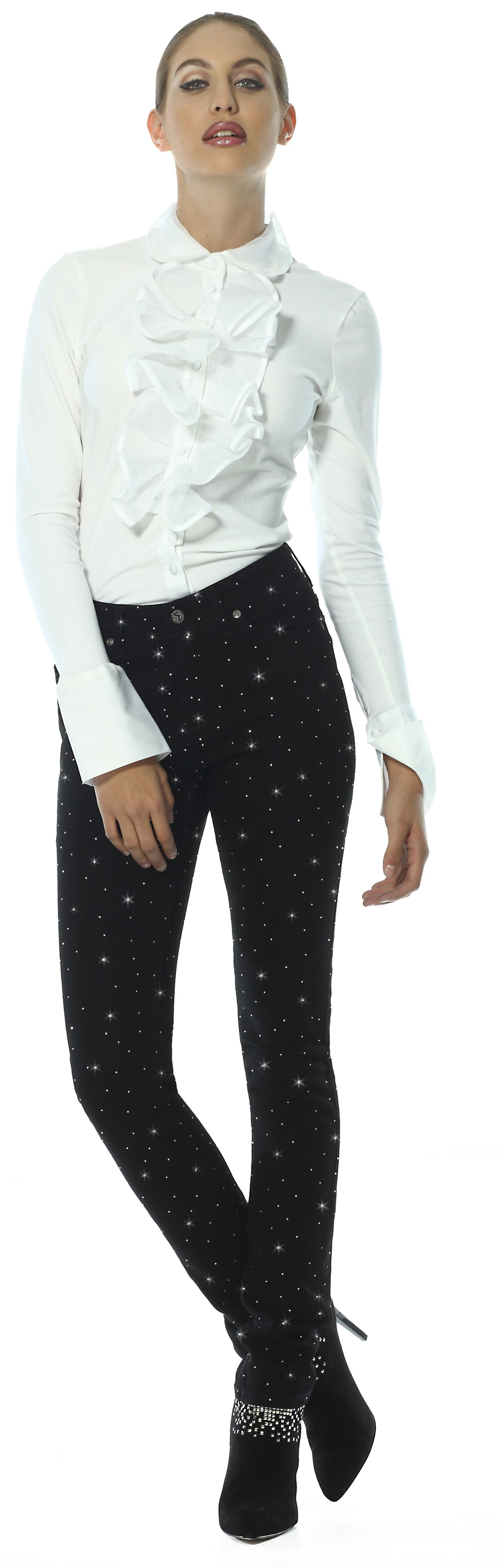 Black Diamanté Skinny Party Jeans in Jet Black - Gina Jet Black Diamante