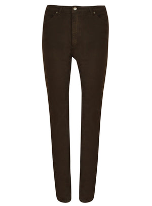 rear view chocolate coloured womens jeans