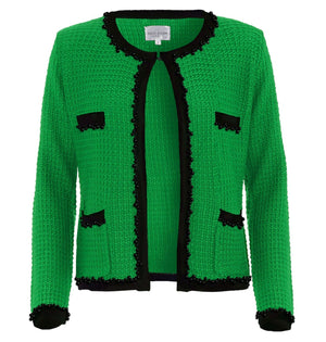 Emerald green with black edging and black jet stone detail Chanel inspired jacket by Sally Allen