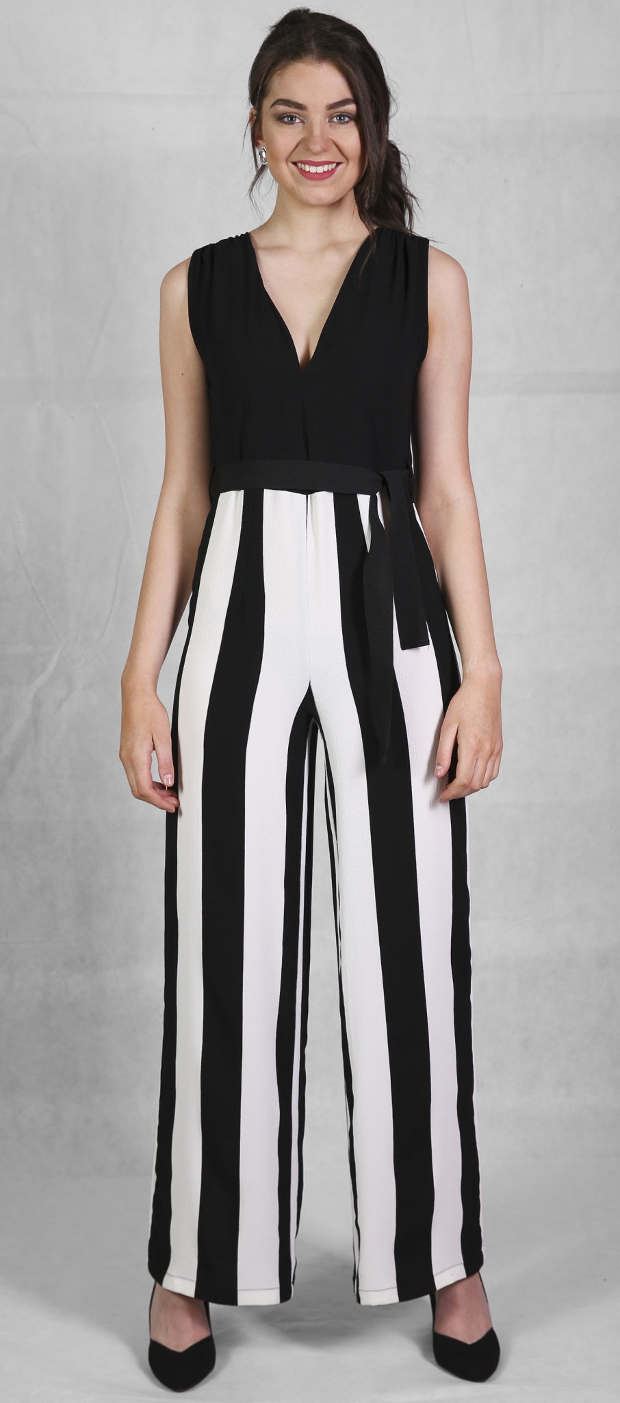 James Lakeland Black & White Stripe Jumpsuit