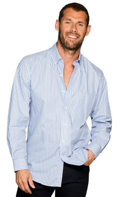 Brook Taverner Lancing Shirt - Men's Blue & White Stripe Cotton Shirt