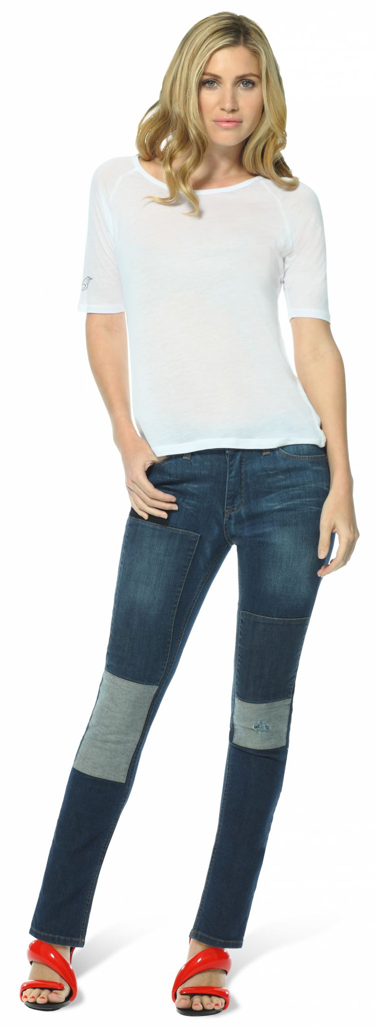 womens patch skinny jeans