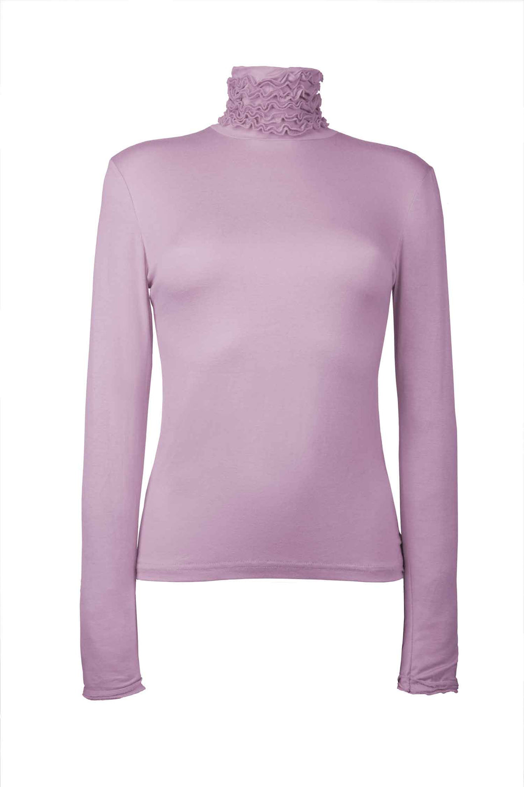 Best selling fine knit Ruffle Polo Neck Sweater in Lilac by Sally Allen