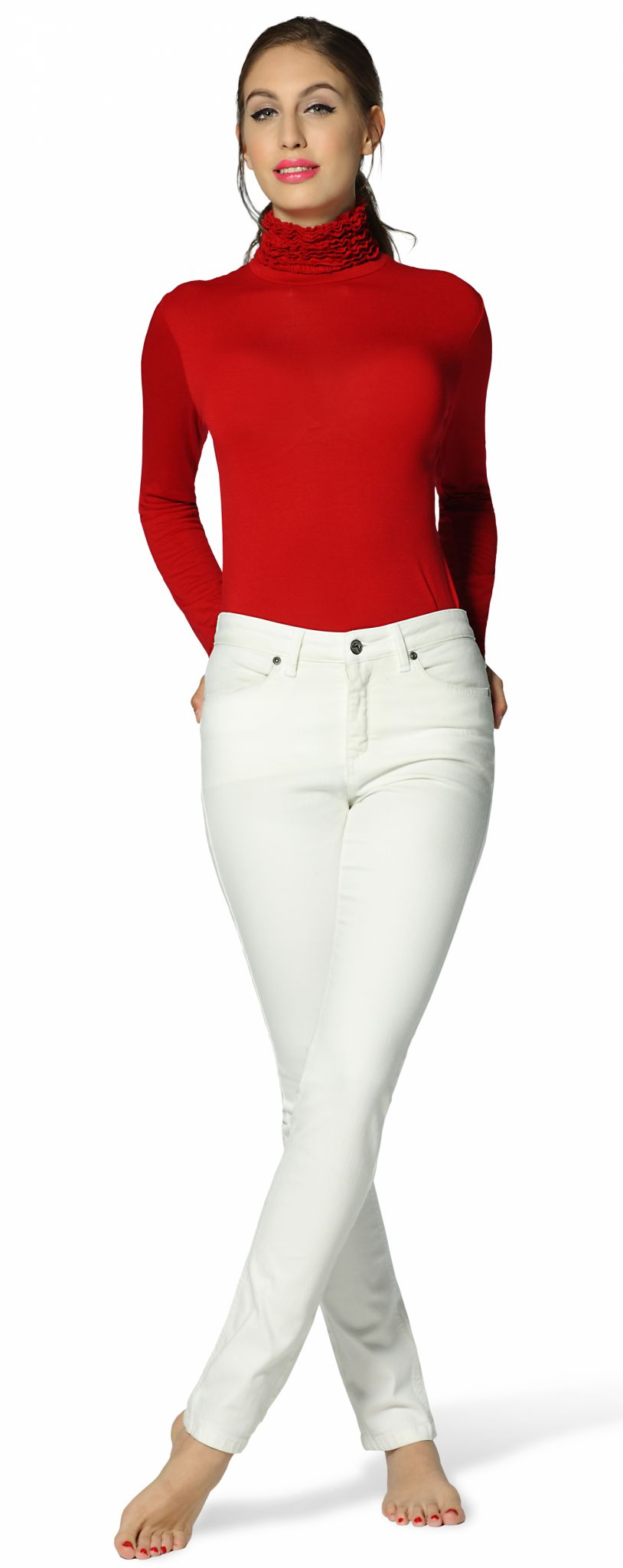 Malibu White skinny cut, regular rise womens Jeans paired with red fine-knit ruffle polo neck jumper