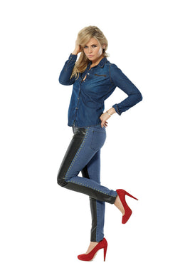 Marilyn Bombshell Elite Wizard Jeans skinny cut, regular rise with faux leather panel and stud detail