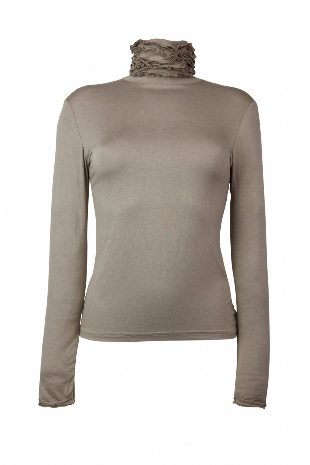 Best selling fine knit Ruffle Polo Neck Sweater in Mink by Sally Allen