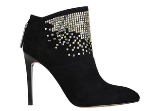 Monroe black suede and decorated ankle boots