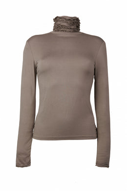 Best selling fine knit Ruffle Polo Neck Sweater in Mushroom by Sally Allen
