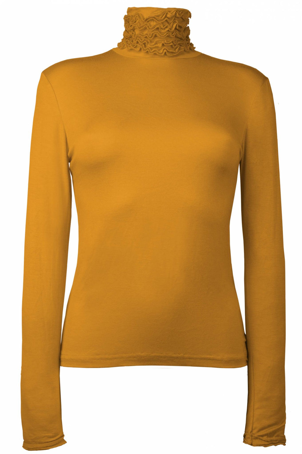 Best selling fine knit Ruffle Polo Neck Sweater in Mustard by Sally Allen