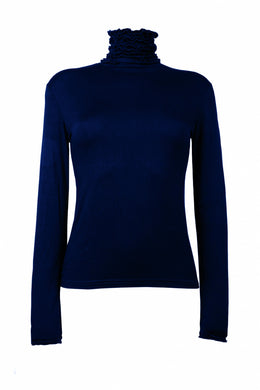 Best selling fine knit Ruffle Polo Neck Sweater in Navy by Sally Allen