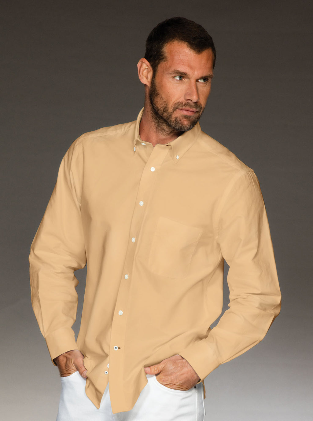 Men's 100% cotton yellow shirt