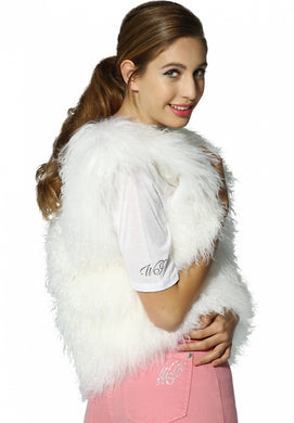 Mongolian Lamb Gilet in white, peach and black