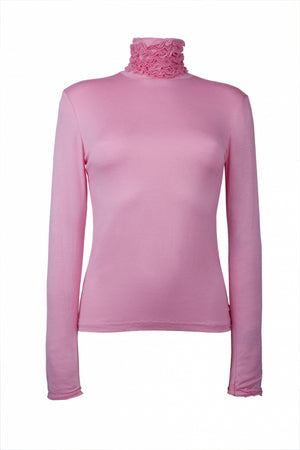 Fine Knit Ruffle Polo Neck Jumper - Pink