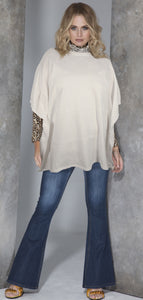 One Size White Poncho by Sally Allen