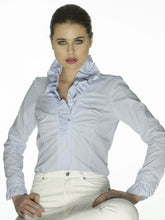 Load image into Gallery viewer, Blue & White Stripe Ruffle Shirt by Sally Allen