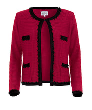 Load image into Gallery viewer, Knitted Amelie jacket in red, Inspired by Coco Chanel