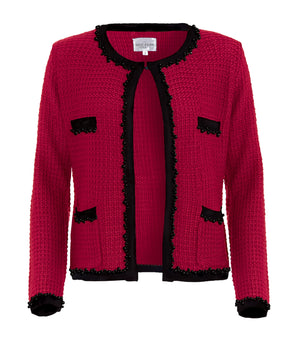 Knitted Amelie jacket in red, Inspired by Coco Chanel