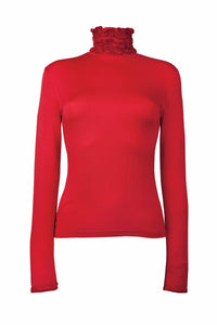 Ruffle Polo Neck Fine Knit Sweater - Red by Sally Allen