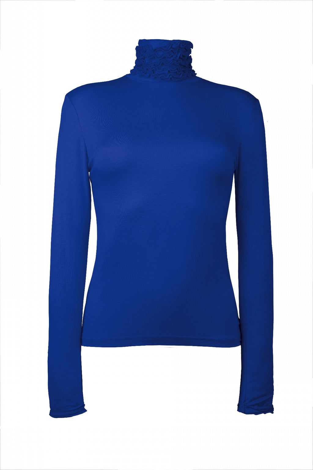 Fine Knit Ruffle Polo Neck Jumper - Royal Blue