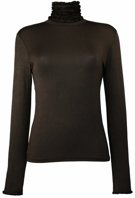 Best selling fine knit Ruffle Polo Neck Sweater in Chocolate