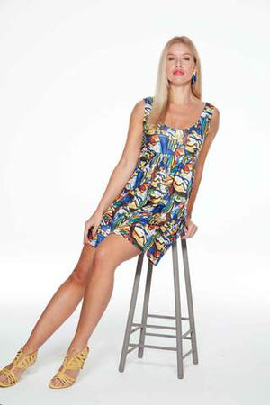 Paloma Short Anytime Anywear Mini Dress in Picasso style print by Sally Allen