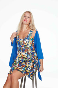 Paloma Short Anytime Anywear Dress in Picasso style print by Sally Allen