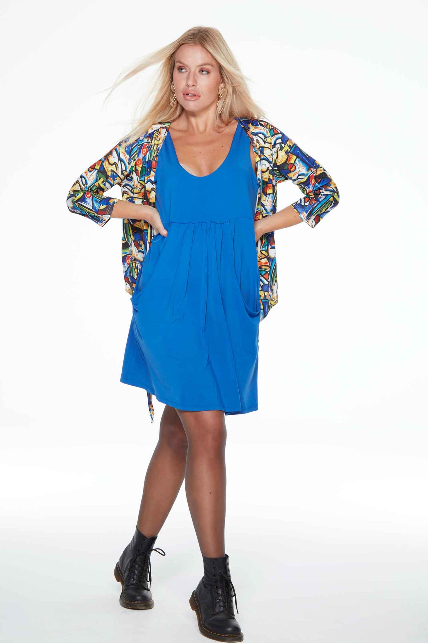 Eva Cobalt Blue Anytime Anywear short dress by Sally Allen