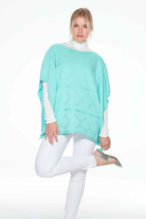 One Size Turquoise Poncho by Sally Allen