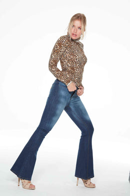 Bardot Flare by Elite Wizard Jeans. Hand finished sand blasting. High Fashion