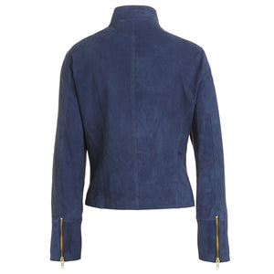 Blue Suede Biker Jacket