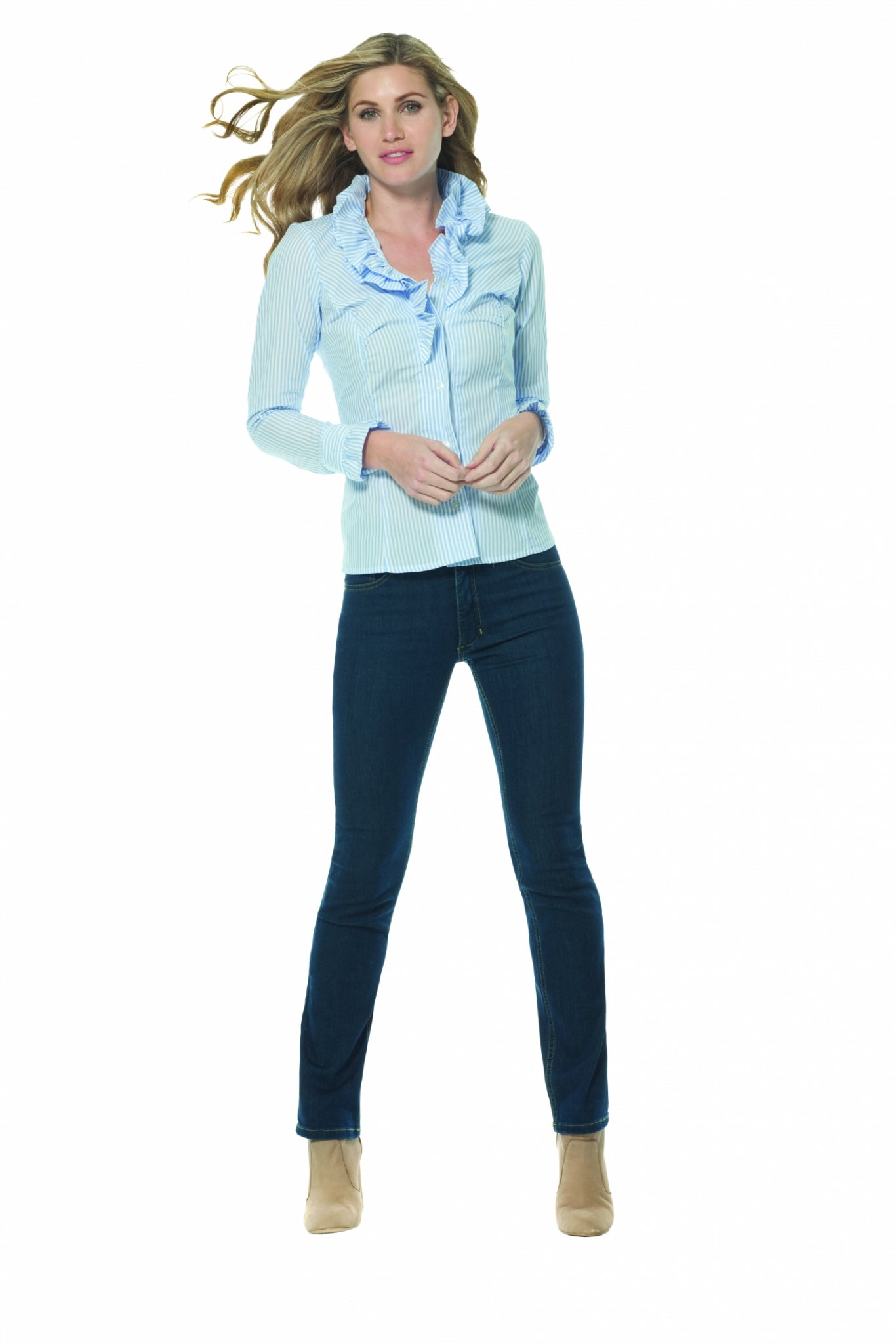 Womens Blue Jeans - Straight Cut, Full Rise