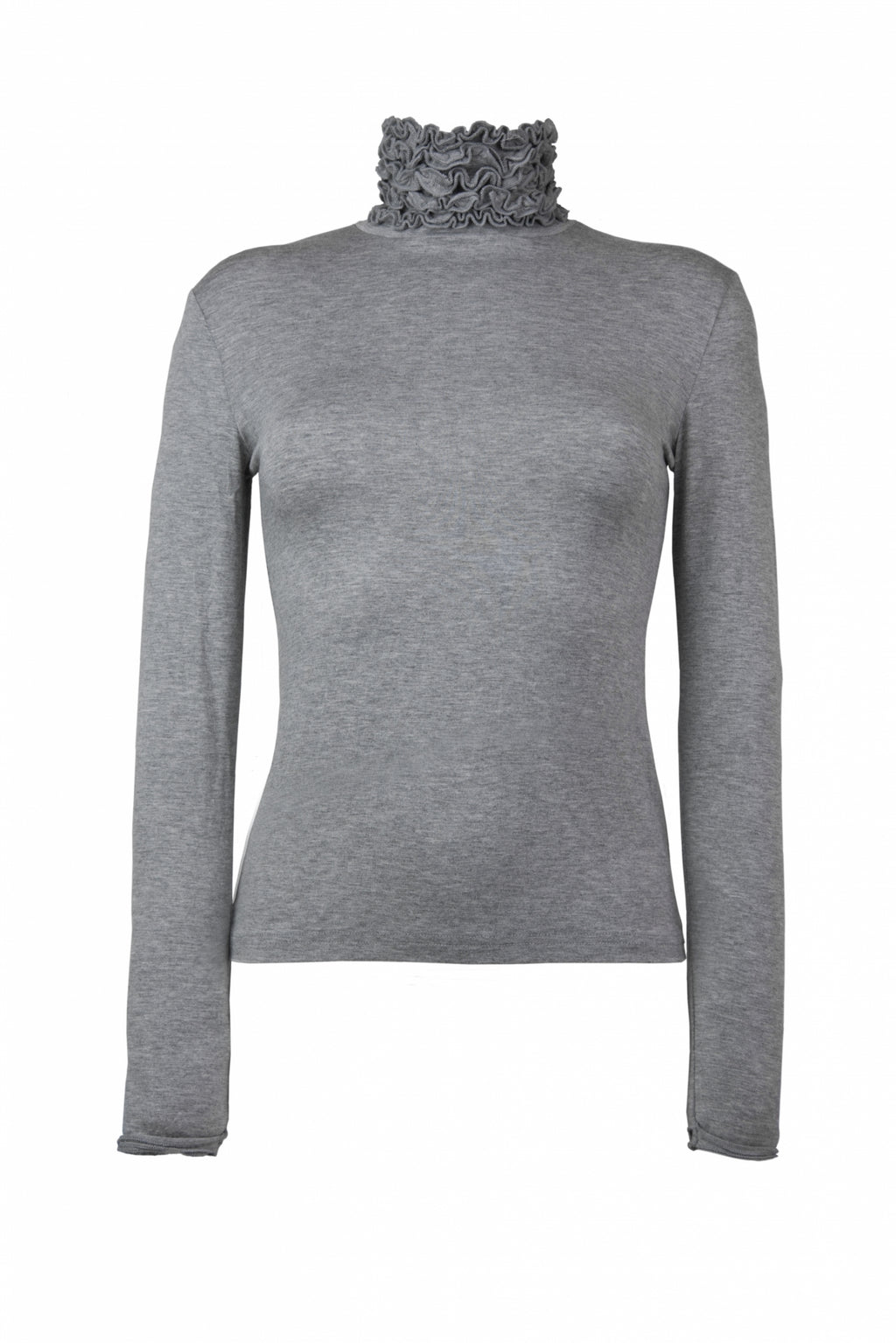 Ruffle Polo Neck Fine Knit Sweater - Silver Grey