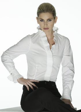 Tina - classic white shirt with pleated stand-up collar by Sally Allen