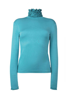 Best selling fine knit Ruffle Polo Neck Sweater in Turquoise by Sally Allen