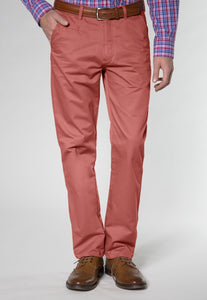 mens chinos in coral red
